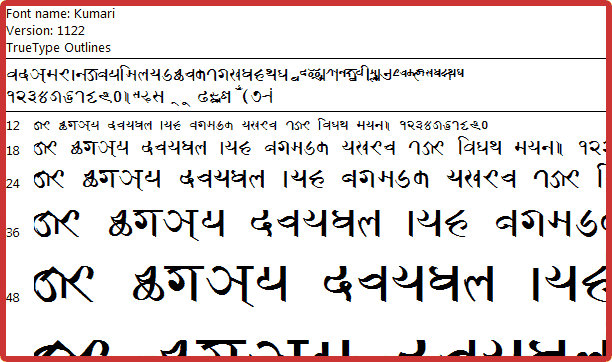 Probably, seeing this as failed to load the preview of Prachalit 1 (Kumari) Newari Font